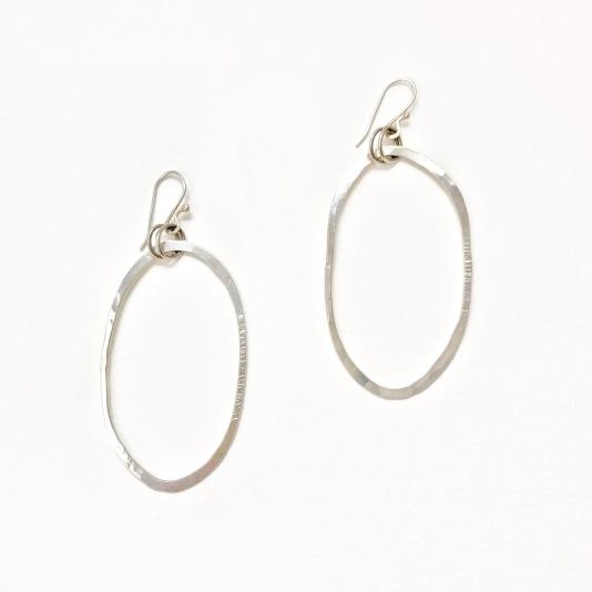 Oval Silver Hoop Earrings