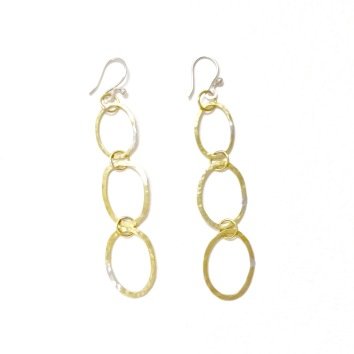 Triple oval brass hoop dangles