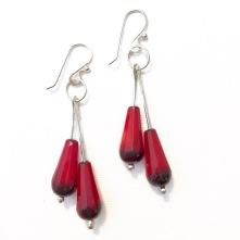 earrings with red teardrop shaped beads