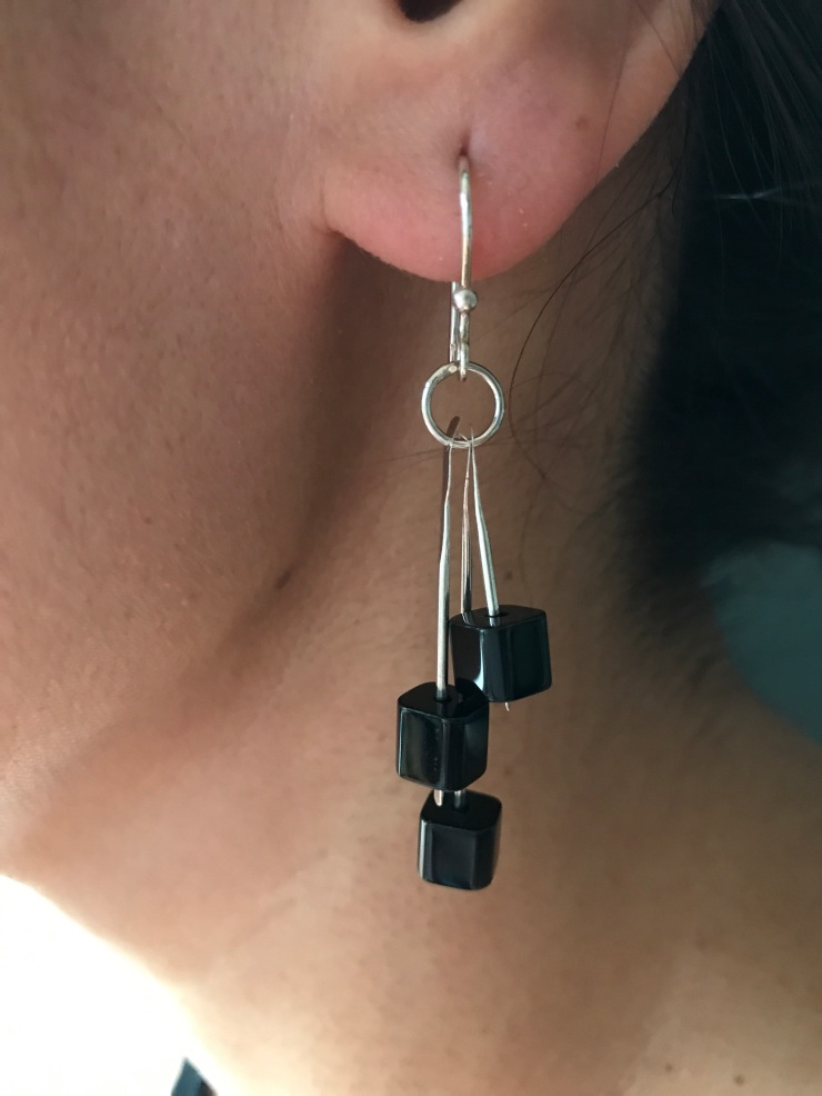 waterfall earrings with black squares