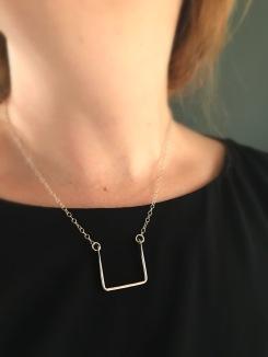 Silver mod square necklace