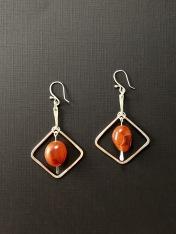Carnelian silver belted Earrings