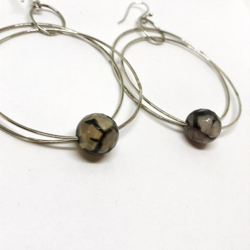 Crackle Agate and Sterling Silver Earrings