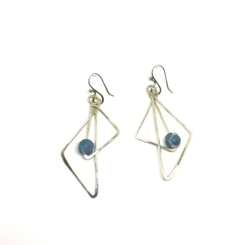 Dzi Agate and Sterling geometric earrings