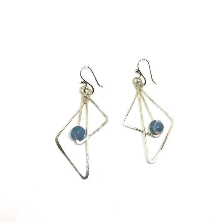 Dzi Agate and Sterling geometric earrings