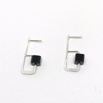 Geometric onyx earrings