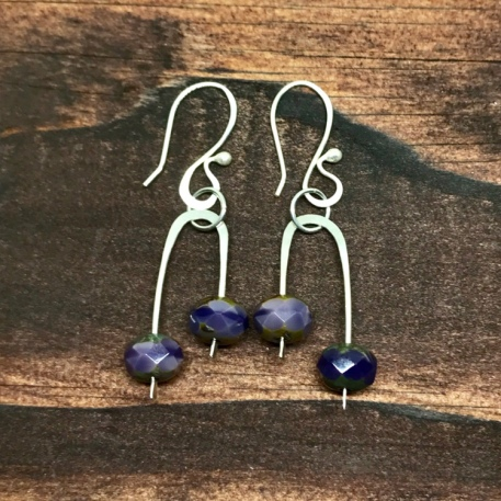 Lavender Czech Glass Earrings