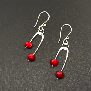 Ruby red Czech glass earrings