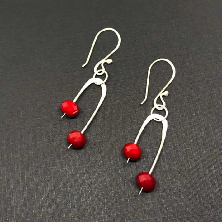 Ruby red Czech glass earrings