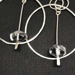 Quartz and Silver Hoops