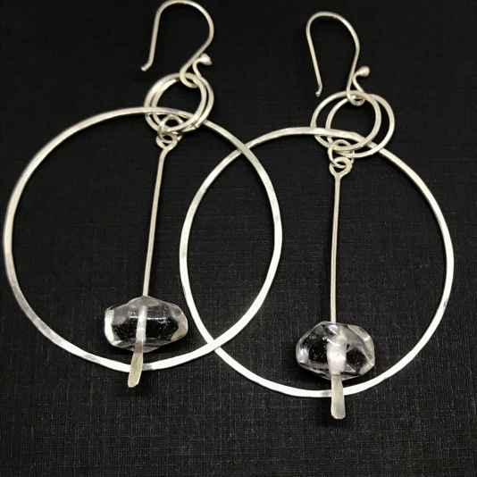 Quartz and Silver Hoops