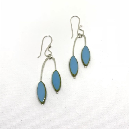 Baby Blue Czech Glass Earrings