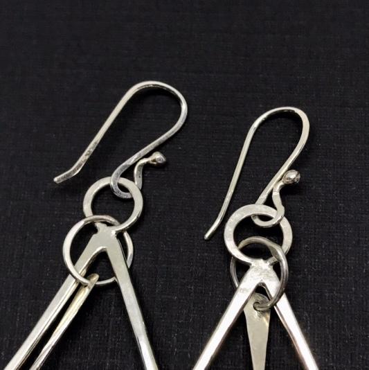 Silver earring detail