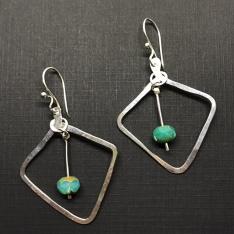 Czech Glass and Sterling Silver Earrings