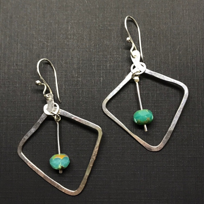 Czech Glass and Sterling Silver Earrings